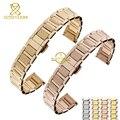 Mujeres pulsera de acero inoxidable de correa de metal sólido 14 mm 16 mm correa de reloj de pulsera de plata banda de oro rosa mariposa broche