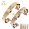 Stainless steel bracelet women's solid metal watchband 14mm 16mm watch strap wristwatches band silver rose gold Butterfly clasp