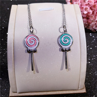 Joker cute lollipop necklace fashion S925 sterling silver playful women's necklace pendant Silver jewelry