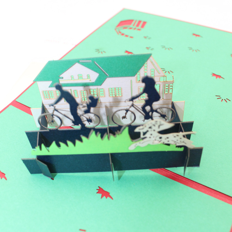 (10 pieces/pack)Leiso Brand 3D Laser Cut Pop Up Paper Handmade Custom Greeting Cards Sweet House with Family Riding Paper Card