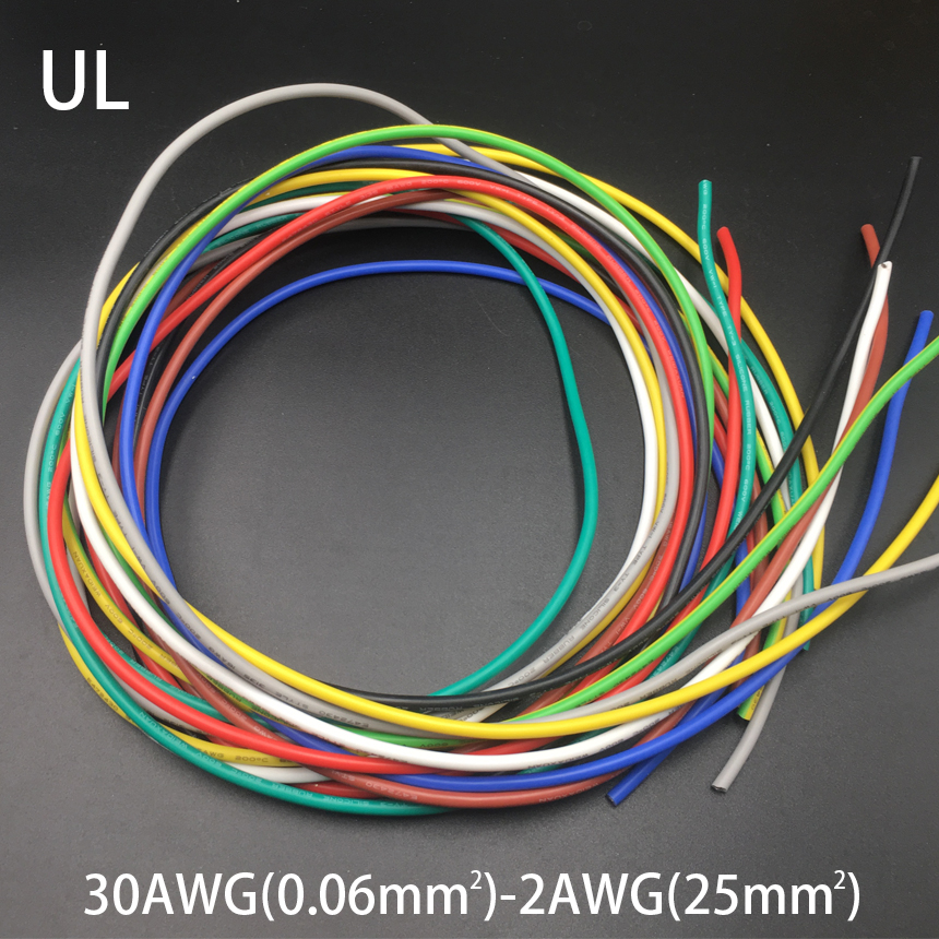 <font><b>13AWG</b></font> 2.5mm2 600V 200C 0.08mm UL Wrapping Tinned Copper <font><b>Silicone</b></font> Rubber Insulation LED OK SR Stranded Braid Wire <font><b>Cable</b></font> Cord image