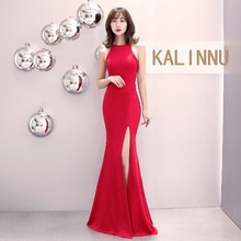 Sexy Elegant Banquet Red Bodycon Dresses Women Evening Party Night Club Halter Waist Hollow Long Mermaid Dress Vestidos 2019