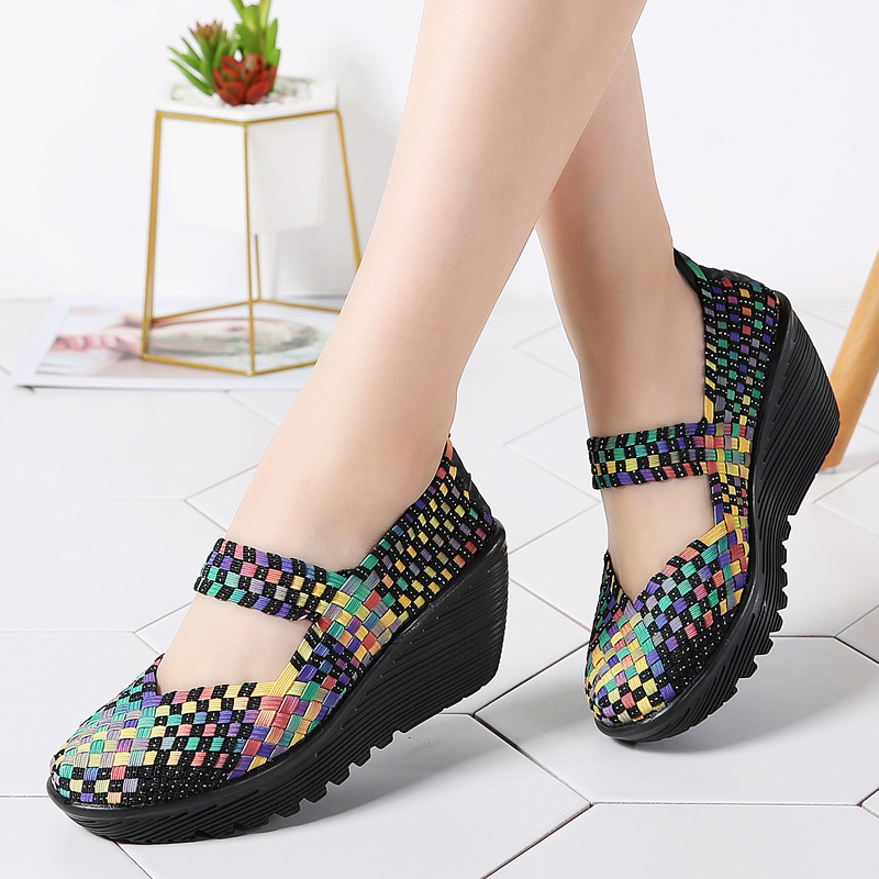 Women Flat Slip On Sandals Trainers Ladies Beach Casual Woven Elasticated Shoes