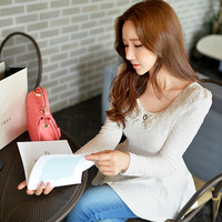 original 2017 autumn winter long sleeved fashion o neck all match base t shirt women