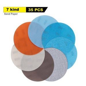 Image 1 - 35 pcs 5 인치 소프트 필름 샌딩 디스크 샌드페이퍼 600 ~ 4000 습식/건식 자동차 페인트 샌딩 용 그릴