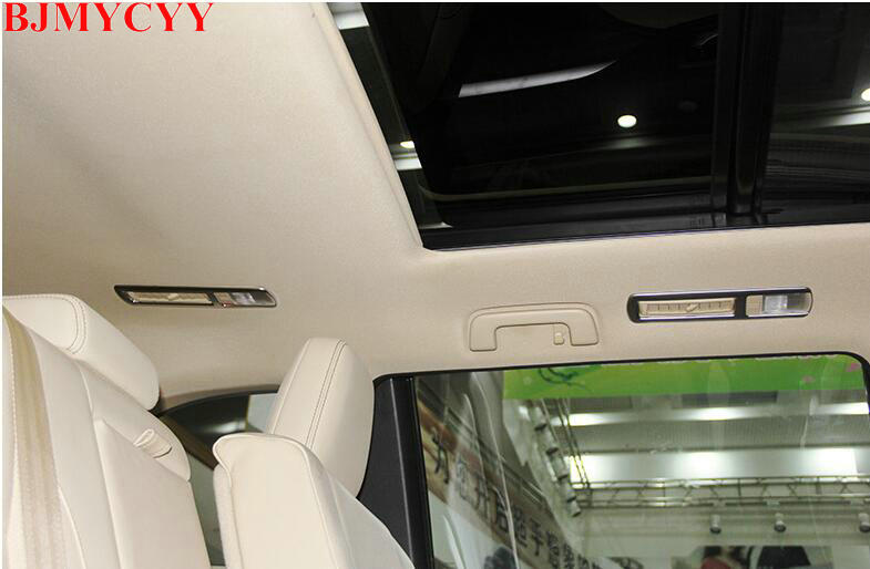 BJMYCYY Car styling For 2014 2015 Toyota Highlander Kluger ABS Chrome Rear Reading Light Lamp Cover Trim Inner Molding high quality abs chrome rear bumper scuff trim for 2015 toyota highlander