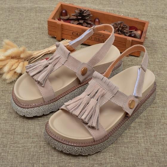 Big Size 35-41 Summer Women Genuine Leather Sandals Vintage Ladies Flat Sandials With Tassel Fashion Casual Platforms Soft Shoes