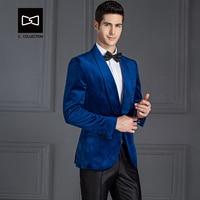 Tailor made Men Blue Velvet Suit Slim fit Wedding Suit Men Tuxedo 2 Pieces(Jacket+Pants) No.SZ160H1