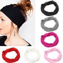 Новый Для женщин Hairband мягкий широкий эластичный стрейч Бег Йога Тюрбан начальник Обёрточная бумага шарф Женские аксессуары для волос