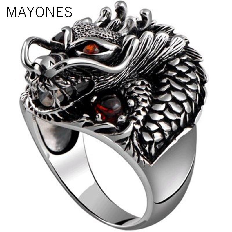 100% solide 925 en argent Sterling Dragon rouge Zircon oeil dominateur hommes anneau Vintage Punk rétro grand gothique anneau hommes bijoux