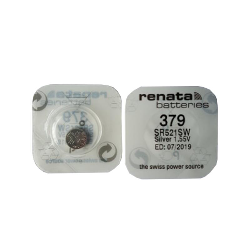 Renata 2Pcs/Lot Silver Oxide Watch Battery 379 SR521SW 521 1.55V Renata 521 Bottun Cell Batteries