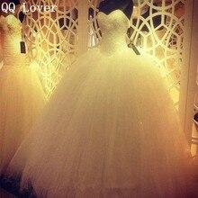 QQ Amante 2017 Robe De Mariage Princesa Bling Luxo Cristais Vestido de Casamento branco Com Imagem Real Custom Made Vestido De Noiva(China (Mainland))