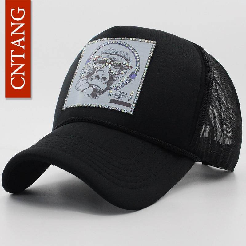 CNTANG Summer Women Men Baseball Cap With Rhinestones Animal Picture Hat Hip hop Black Mesh Trucker Caps Snapback Brand Hats