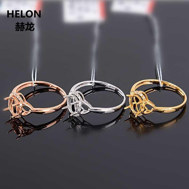 5x7mm Oval Cut Semi Núi Nhẫn Rắn 10 k Vàng Trắng Kim Cương Tự Nhiên Phụ Nữ Engagement Wedding Ring vàng Rose Gold Tùy Chọn