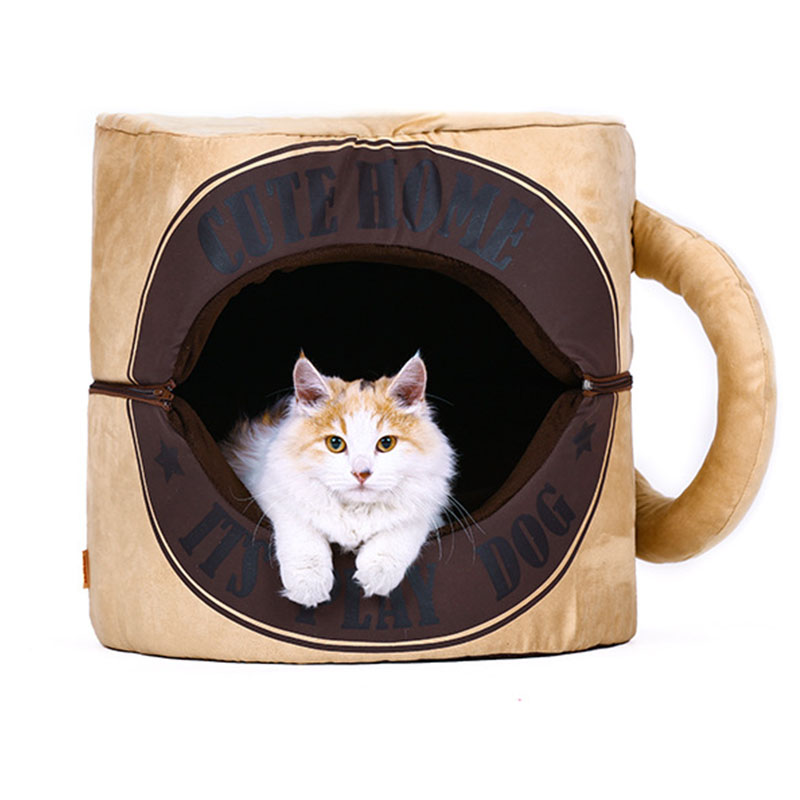 Funny Tea Coffee Cup Pet Dog cat Bed house For Small dog winter warm fleece dog puppy Sofa bed Cushion mat dog sleeping bag