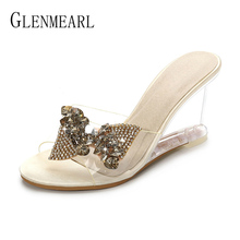 купить Women Slippers Summer Shoes High Heels Crystal Transparent Wedges Sandals Mules Shoes Platform Woman Wedding Shoes Plus Size DE по цене 1318.6 рублей