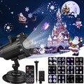 Рождественский лазерный проектор, анимационный эффект IP65, внутренний/наружный проектор для Хэллоуина, 12 узоров, снежинка/Снеговик, лазерны...