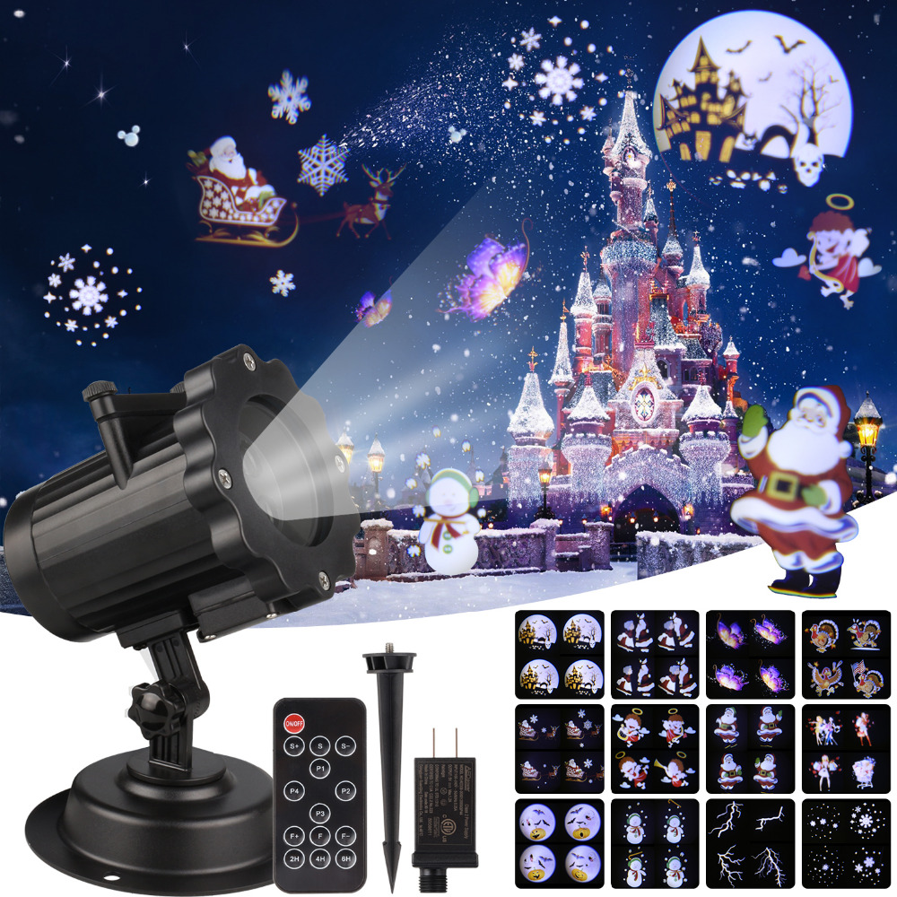 Christmas Laser Projector Animation Effect IP65 Indoor/Outdoor Halloween Projector 12 Patterns Snowflake/Snowman Laser Light