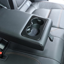 Carbon Fiber Style Rear Seat Water Cup Holder Frame Decoration Cover Trim ABS For Jaguar XE X760 F-Pace X761 XF X260 2016 carbon fiber style center console gear shift panel decoration cover trim for jaguar xe x760 f pace x761 2016 18 abs modified