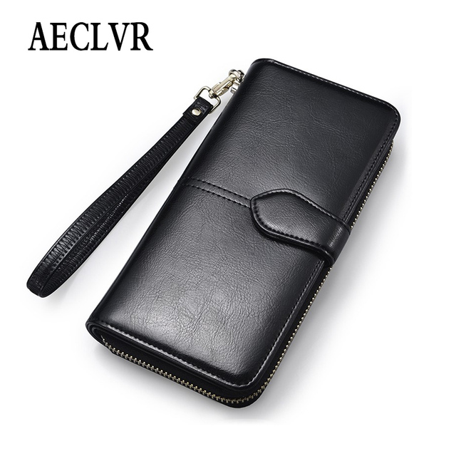 AECLVR Simple Style Long Wallets For Women Solid Color Oil Wax Pu Leather Purses Simple Style Students Girls Daily Money Clips