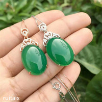 KJJEAXCMY boutique jewels S925 Pure silver natural green jade medulla pendant + necklace inlay decoration bouquet of curved wild