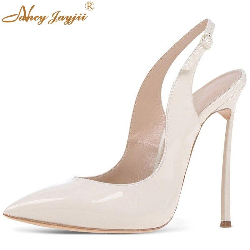 ФОТО Nancyjayjii 2017 Summer Woman Fashion Pointed Toe 12cm High Heels Dress&Wedding Shoes White Slip-on Slingbacks Pumps,Size 4-16