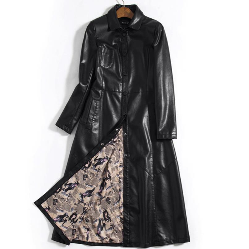 new leather   trench   coat desigual long coat PU casaco feminino