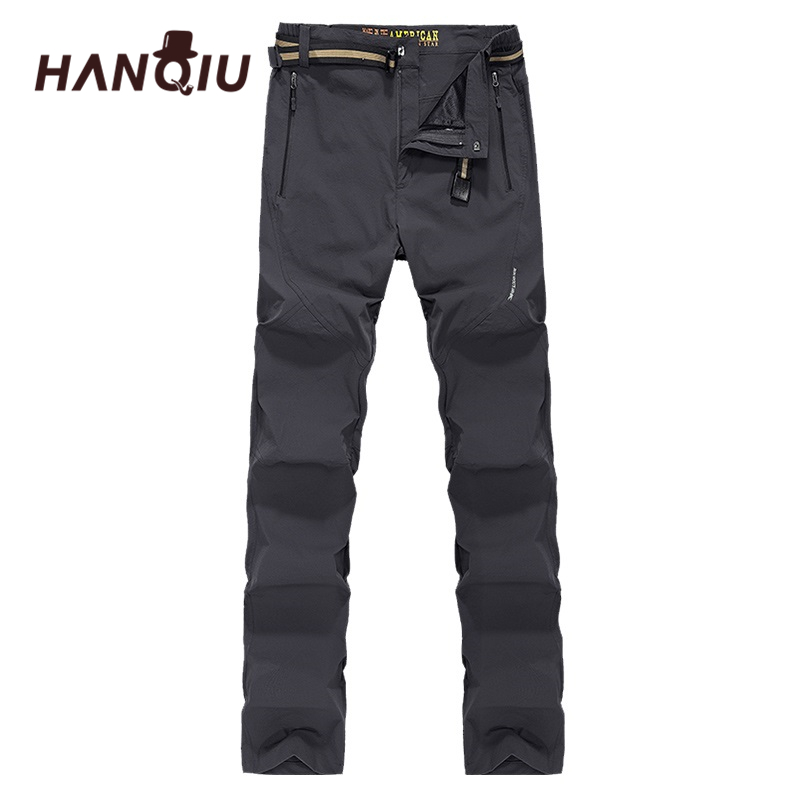 HANQIU Waterproof Pants Trousers Outwear Casual Softshell Breathable Quick-Dry Men