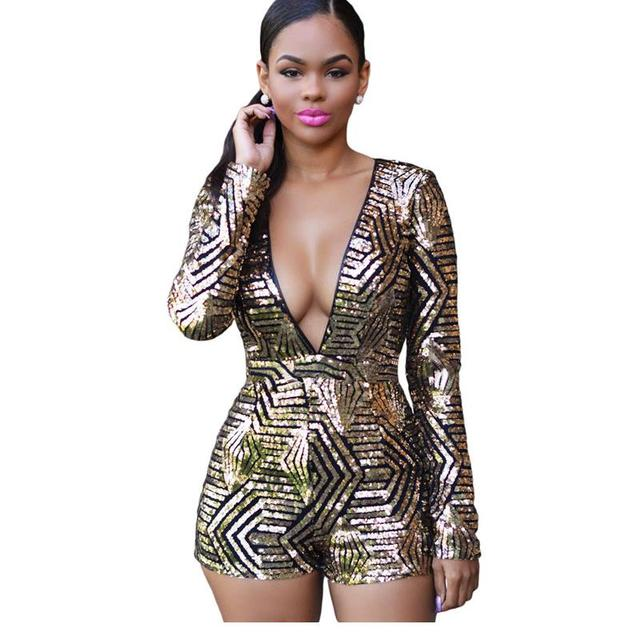 136d8e12485d Autumn 2016 Rose Black Gold Sequin Jumpsuit Sexy V-Neck Women High Waist  Rompers Ladies Long Sleeve Playsuit Plus size LC60841