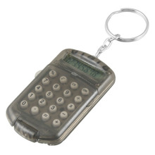 YOC-Hot New Gray Hard Plastic Casing 8 Digits Electronic Mini Calculator w Keychain