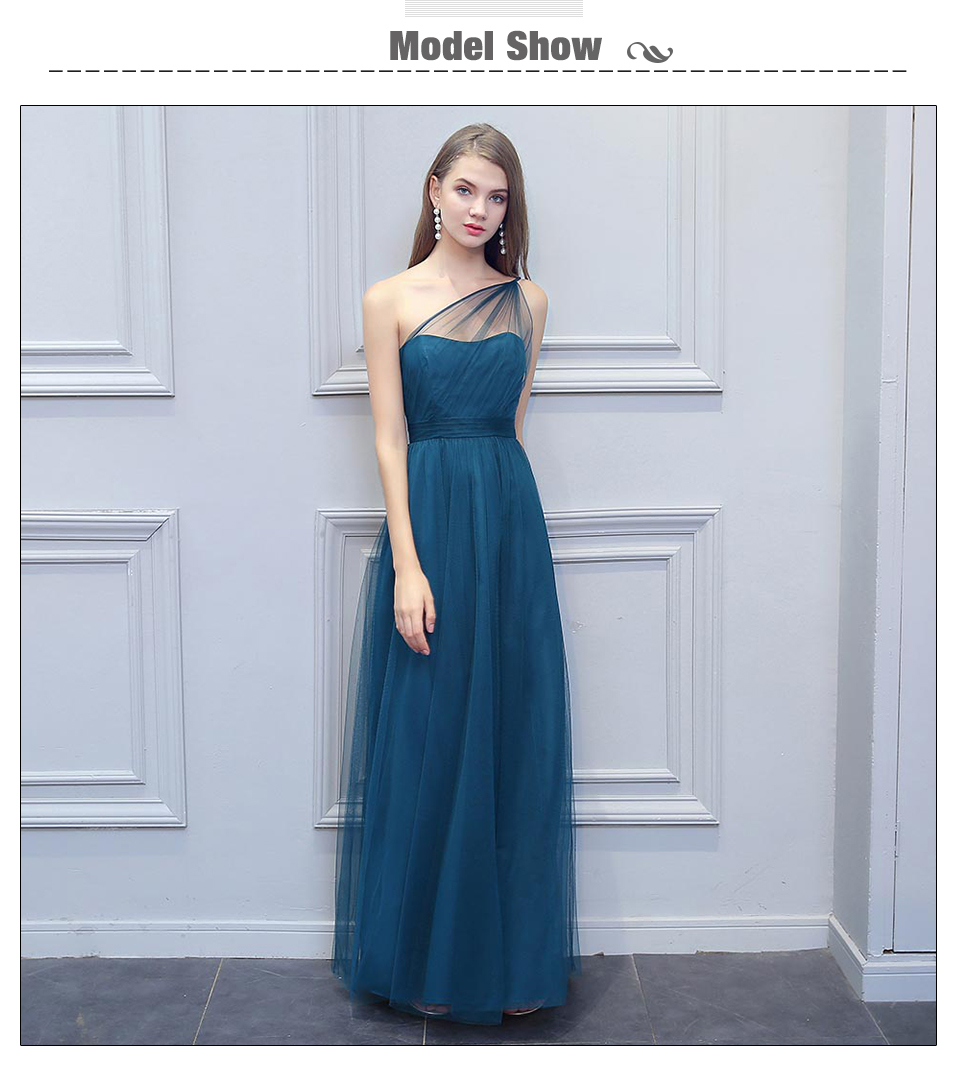 BeryLove Long One Shoulder Evening Dresses Simple Teal Tulle Prom Dresses  2018 Women Formal Dress Special Occasion Gowns 02005f65ee38