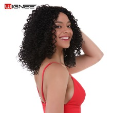 Wignee Afro Kinky Curl Synthetic Wig For Women High Density Heat Resistant Glueless Cosplay Wigs Natural Black African Hairstyle цены онлайн