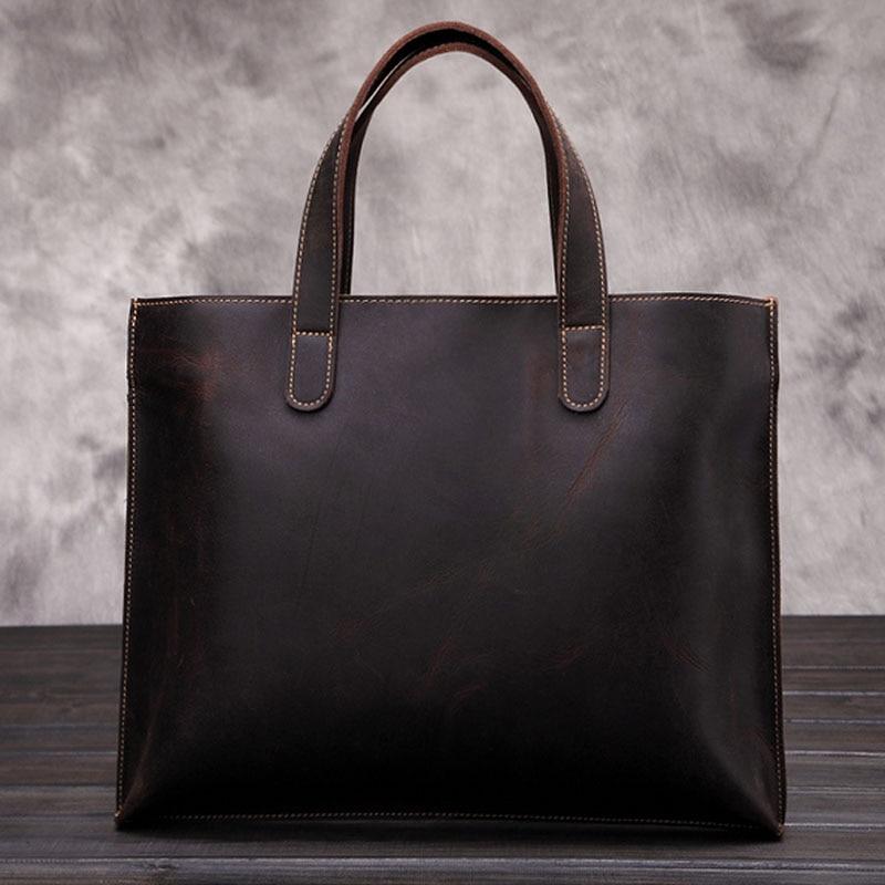 BULLCAPTAIN Top Quality Crazy Horse Cowhide Business Handbag Men Vintage Tote Bag famous brand Messenger Shoulder Bags цена и фото