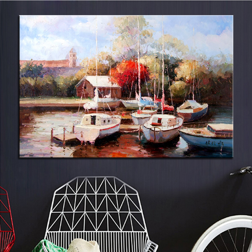 Extra Large Wall Painting Of Powerboat Home Office