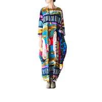 2018 New Spring Original Abstract Floral Linen Dress Size Loose Cotton Long Sleeved Dress Lantern Dress