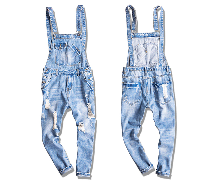 Summer Mens ankle length light blue ripped denim Jumpsuits Plus size distressed   jeans   bib overalls A53104
