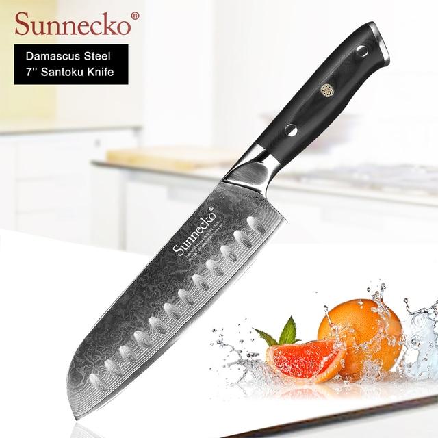 """Damasco SUNNECKO 7 """"de Aço Lâmina Afiada Faca Santoku Japonês Premium VG10 G10 Lidar Com Facas de Cozinha Facas de Cozinha Cortador de Carne"""