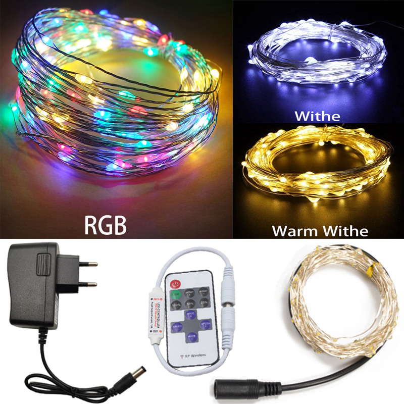5m-80m Led Strings DC 12V White/Warm Led Fairy Copper Wire RGB LED String Holiday Lighting Garland Outdoor For Christmas Party