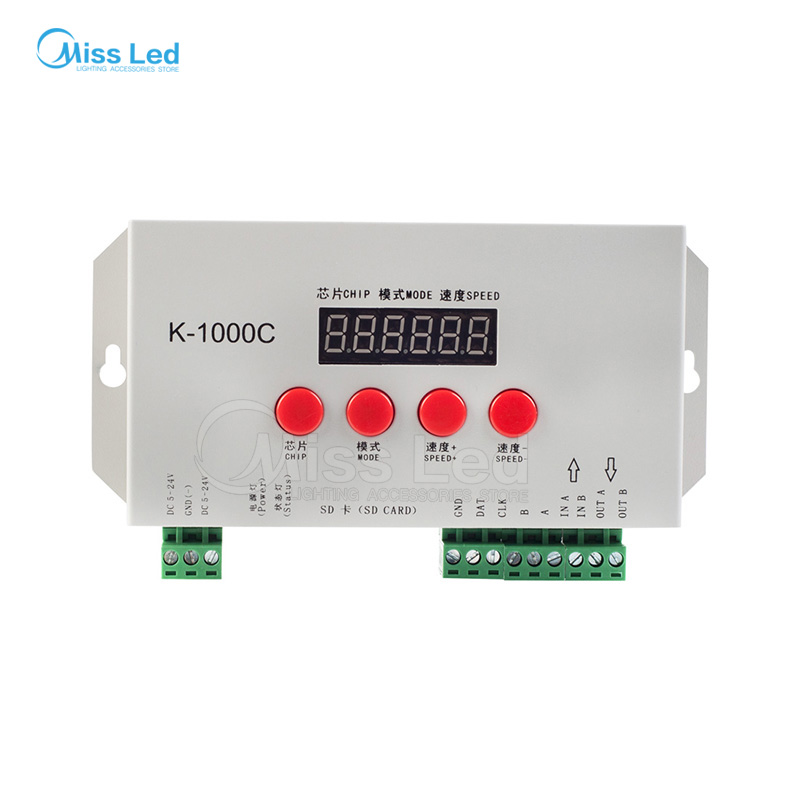 K-1000C(T-1000S updated) ws2812b/ws2811/APA102 Led strip Sd card address programmable Controller 2048 pixels full colur 5-24V presidential nominee will address a gathering