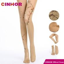CINHOR, фирменный дизайн, синяя текстура, градиент, жаккард, весна, Ретро стиль, женские длинные хлопковые колготки, чулки, компрессионные