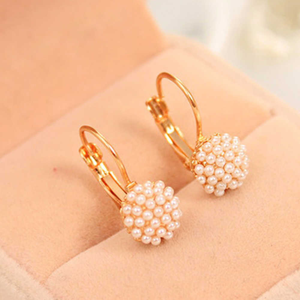 Lady Elegant Simulation Pearl Beads Ear Stud Earrings 1 Pair New Fashion Jewelry Women