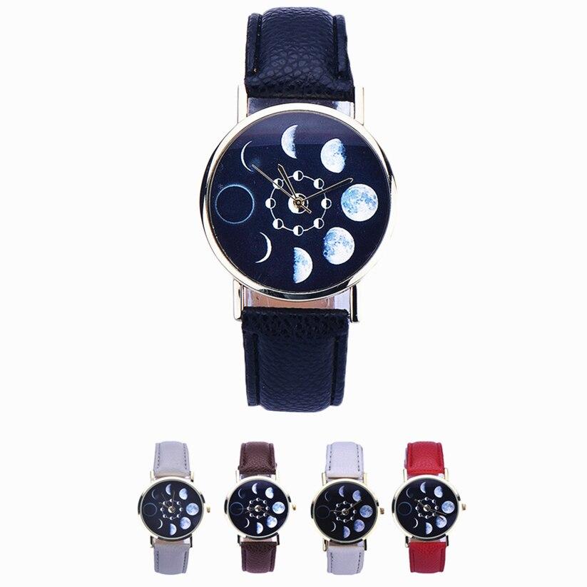 Womens Quartz Watch 1 PC Fashion Lunar Eclipse Pattern Analog Wrist Watch PU Leather Strap Stylish Female Watch Wholesale 40M10