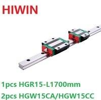 1 шт. 100% Оригинал Hiwin Линейные направляющей HGR15 L 1700 мм + 2 шт. HGW15CA HGW15CC Линейный Фланец каретка для ЧПУ