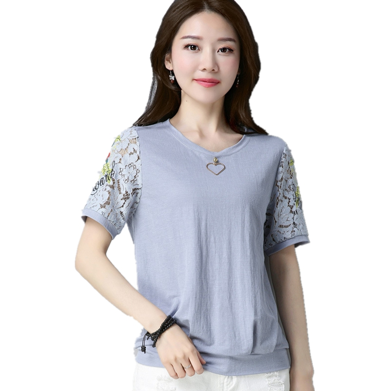 Summer fashion lace patchwork t-shirt hollow out short sleeve short sleeve t shirt plus size 4XL o neck solid color female tee plus size cut out short sleeve t shirt