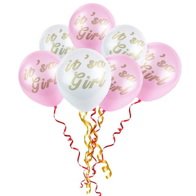 20pcs Gold Baby Shower Balloon White Pink Itu0027s A Girl Balloons 10 Inch  Birthday Party Decor
