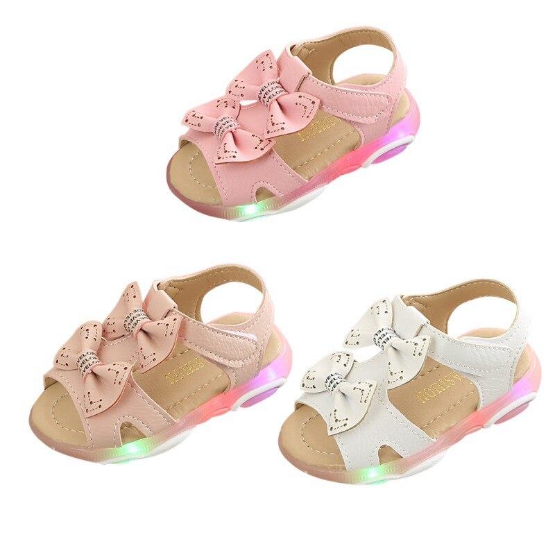 2019 Summer Baby Girl Sandals Children Shoes Newborn Baby Girls Bowknot Led Light Luminous Sandals Shoes