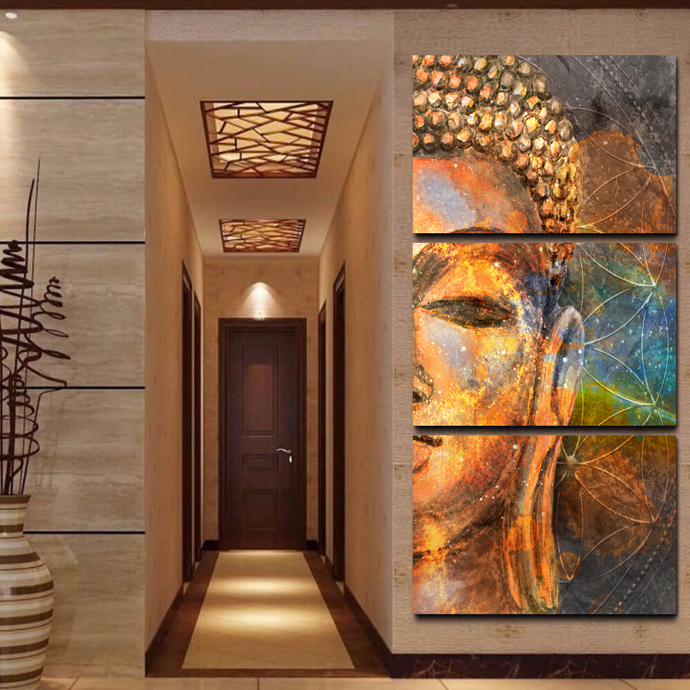 Online Shop 3 Panel Buddha Statue Abstract Wall Art Picture Modern Home Decoration  Living Room Or Bedroom Canvas Print Painting Wall Picture | Aliexpress ...