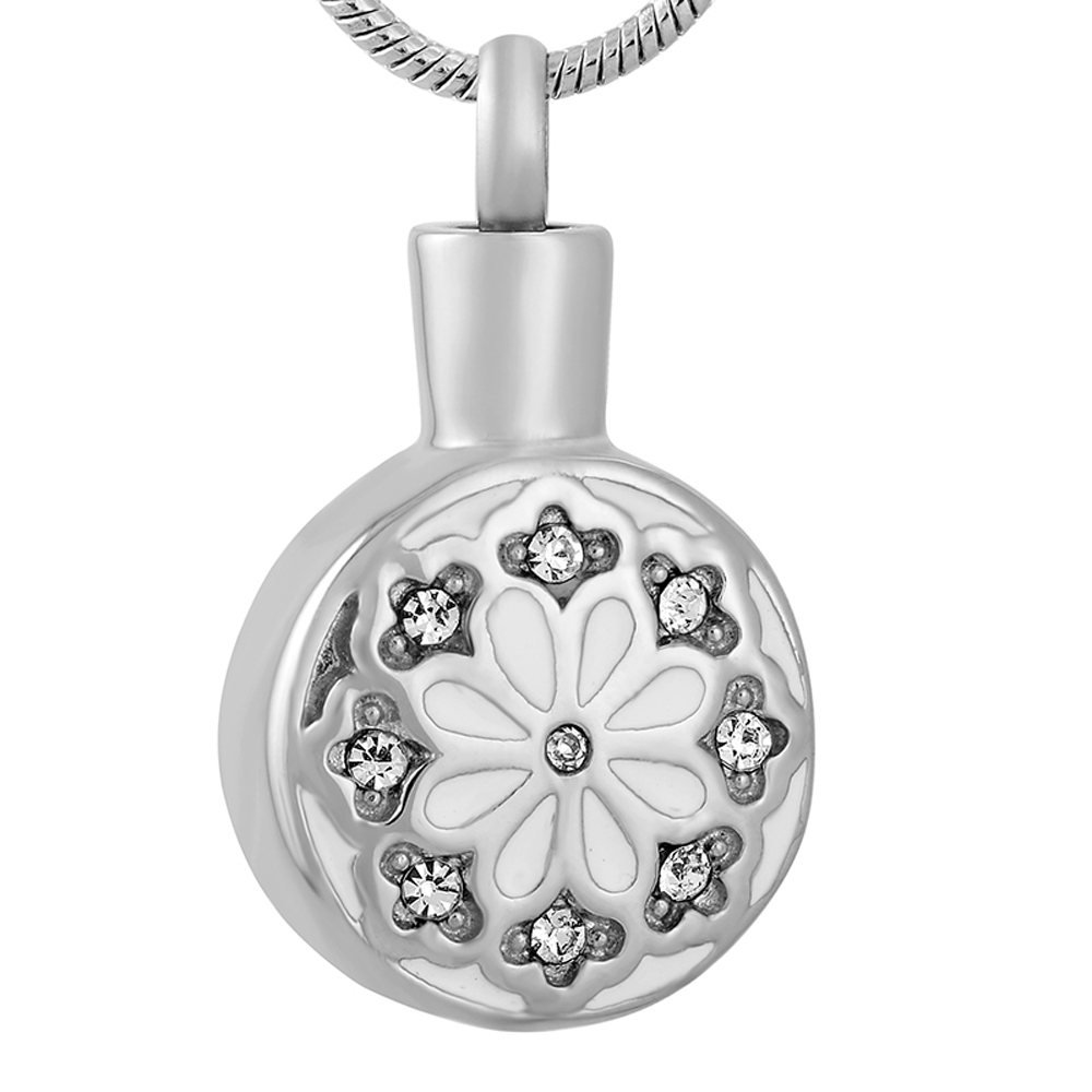 IJD9657 Stainless Steel Cute/Romantic Flower Round Design Cremation Jewelry in Pendant Necklace Women Freeshipping