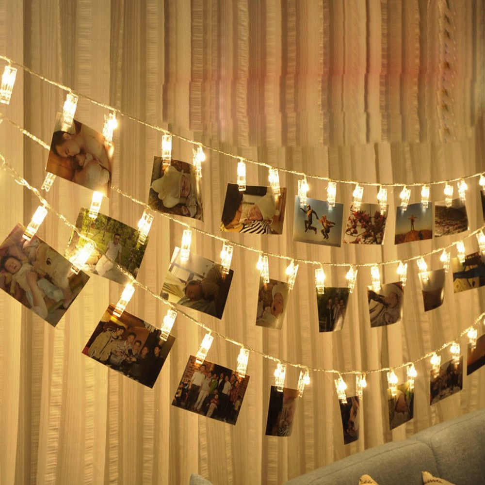 1M 3M Photo Clip Holder LED String Lights Fairy Garland Christmas New Year Party Wedding Home Indoor Decoration Battery Powered