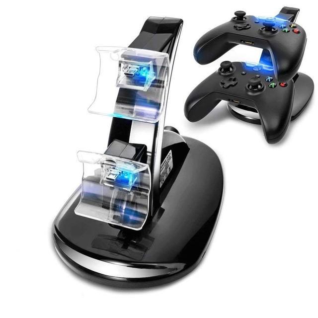 Para Xbox One estación de carga de control de juegos inalámbrico Dual LED Micro USB cargador Dock Microsoft Xbox One controladores